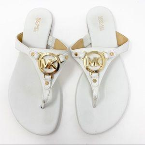 Michael Kors Thong Sandals White Gold 8.5